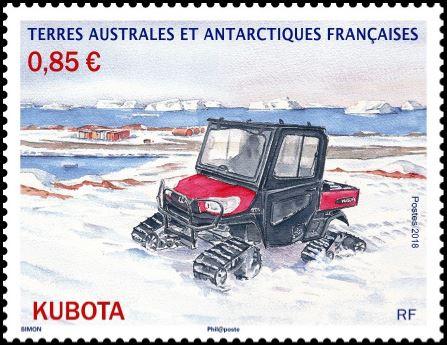 """Résultat de recherche d'images pour """"timbre KUBOTA (véhicule à chenille en Terre Adélie) terres Australes"""""""